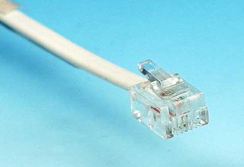 アナログ電話線のコネクタ