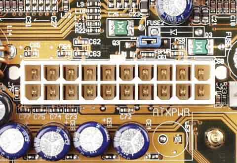マザーボードに搭載されているATXメイン電源コネクタ