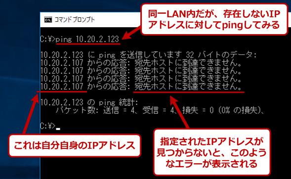 同一LAN上の存在しないホストに対してpingを実行した場合の例