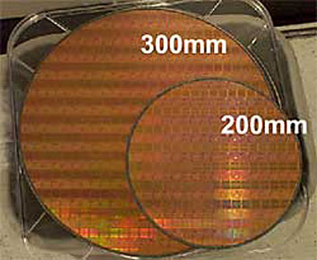 200mmと300mmのウエハの比較