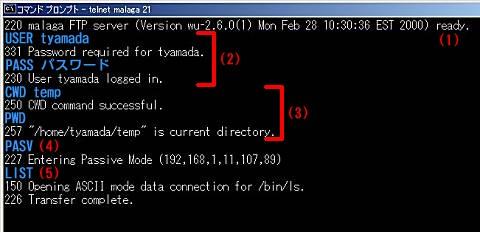 画面2 青字は入力するコマンドを示している。実際にはエコーバックしないため表示はされないので注意(画面をクリックすると拡大表示します)≫