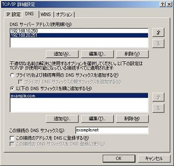 画面4 Windows 2000でDNSを手動設定した例