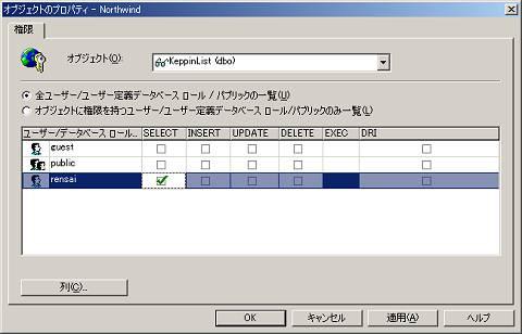 画面9 「rensai」ユーザーに、「KeppinList」ビューへの「SELECT」文でのアクセス許可を与える(画面をクリックすると拡大表示します)