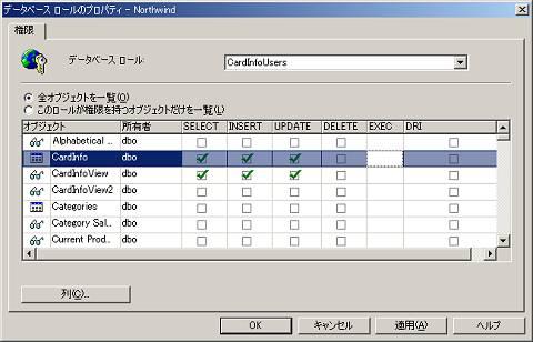 画面4 作成したロールに、CardInfoとCardInfoViewへの「SELECT」「INSERT」「DELETE」権限を付与する(画面をクリックすると拡大表示します)