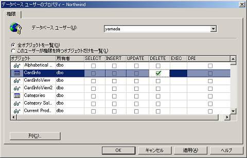 画面6 ユーザーyamadaに「DELETE」権限を付与する(画面をクリックすると拡大表示します)