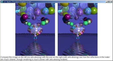 curlで計算したレイトレーシングによる3次元画像。ジャギー(ギザギザ)のままのものと、計算によって滑らかになったもの