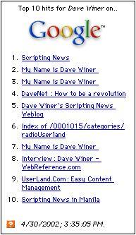 あるキーワードで1日に1000回の検索を行い、その結果を表示する