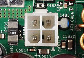 機器に搭載されているATX12V電源コネクタ