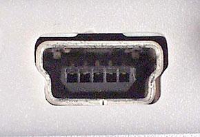 USB(ミニB)の周辺機器側コネクタ