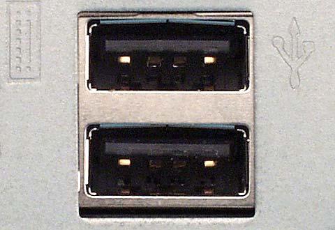 PCに搭載されているUSB Standard-A(スタンダードA)のコネクター(レセプタクル)の写真