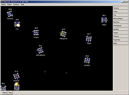 Robocode 開発ツール上での対戦中の画面。SpinBotというグルグル回りながら攻撃するロボットが勝ち残ったところ
