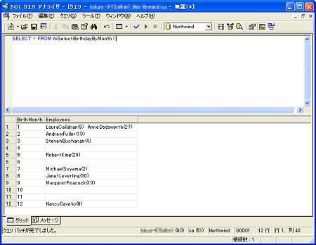 画面2 fnSelectBirthdayByMonthの実行結果(画面をクリックすると拡大表示します)