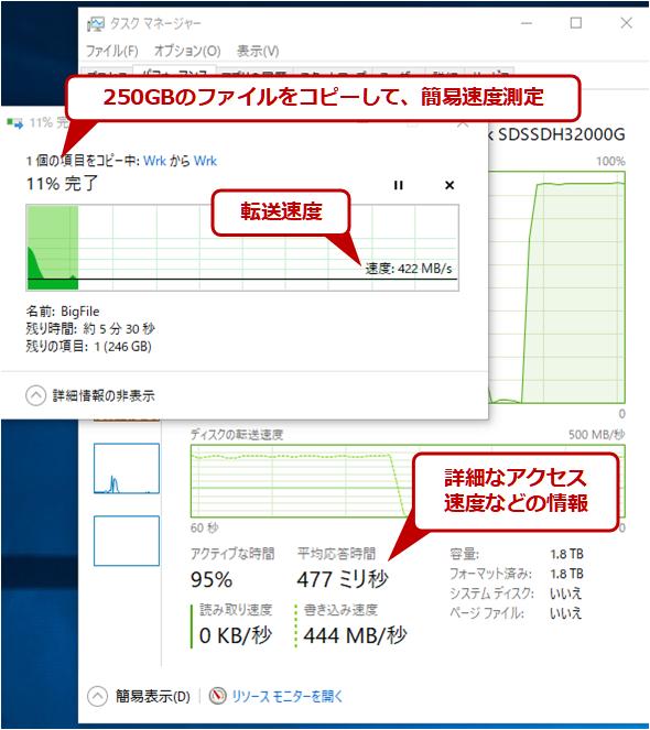 ファイルのコピーによる読み書き速度の測定例