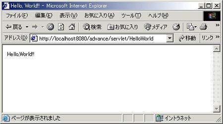 画面1 HelloWorld.javaの実行結果
