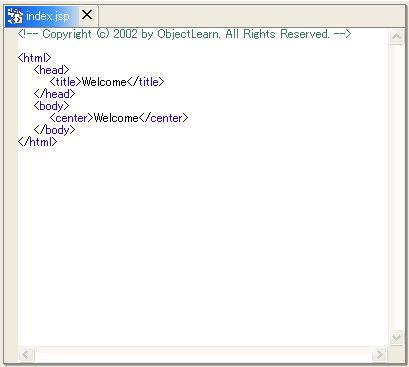 画面2 JSPエディタによるHTMLタグのカラーリング