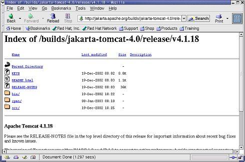 Tomcat 4.1.18を選択の後、binフォルダを選択