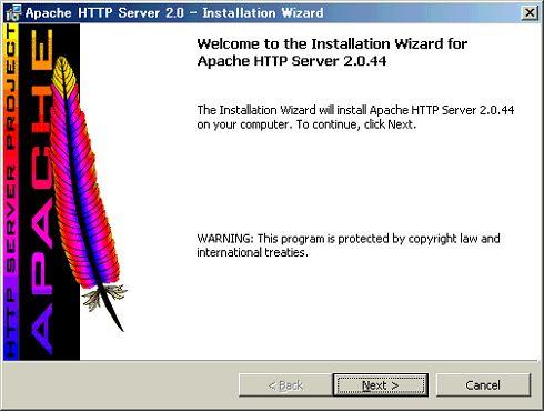 [Apache httpd Server2.0 - Installation Wizard]ウィンドウ([Next >]をクリック)