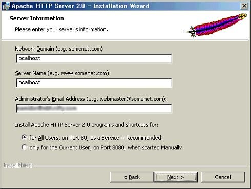 [Server Information]ウィンドウ([Next >]をクリック)
