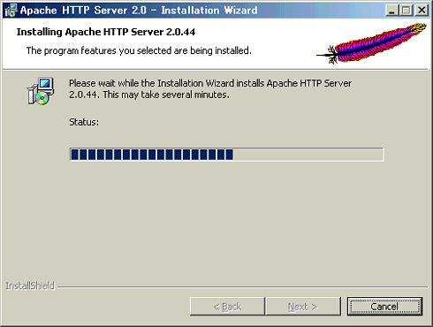 [Installing Apache Http Server 2.0.44]ウィンドウ(インストールの開始)