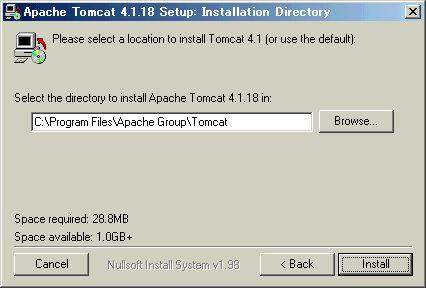 [Installation Directory]ダイアログ([Install]をクリック)