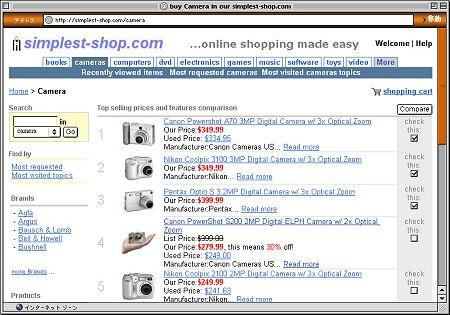 Amazonを利用した専門店:カメラショップの例