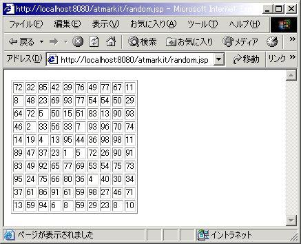 画面4 10×10のテーブルに0?100の範囲の乱数表が生成されます。実行ごとにセットされる値は変化します