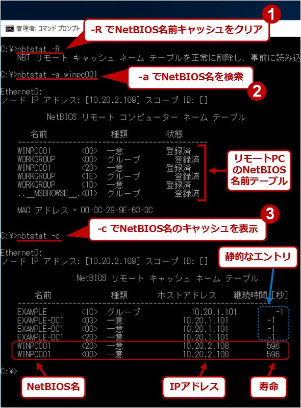 NetBIOS名前キャッシュの確認