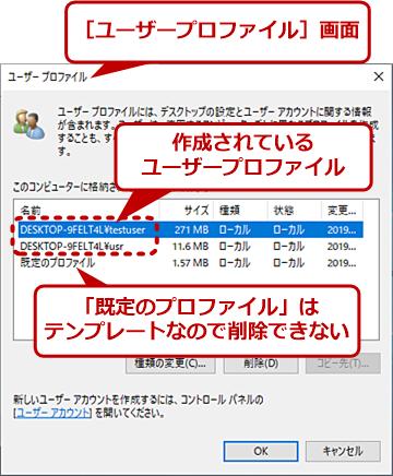 ユーザープロファイルの例