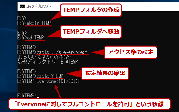 temp用フォルダの作成とアクセス権の設定