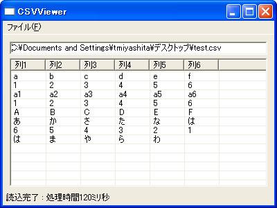 画面 CSVファイルを読み込んだ例