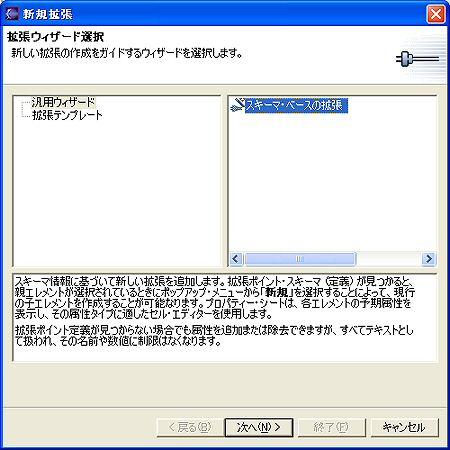 画面6 [汎用ウィザード]-[スキーマ・ベースの拡張]を選択