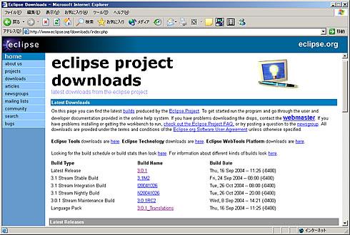 eclipse.orgのホームページ