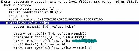 図3 RADIUSパケットダンプ例(Access-Request/PAP)