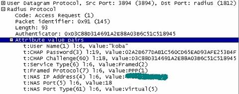 図5 RADIUSパケットダンプ例(Access-Request/CHAP)