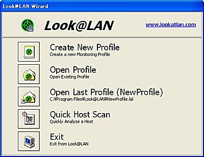 画面2 Look@LANのメニュー選択ダイアログの起動画面