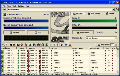 画面5 Look@LANのメインウィンドウ(画面をクリックすると拡大表示します)