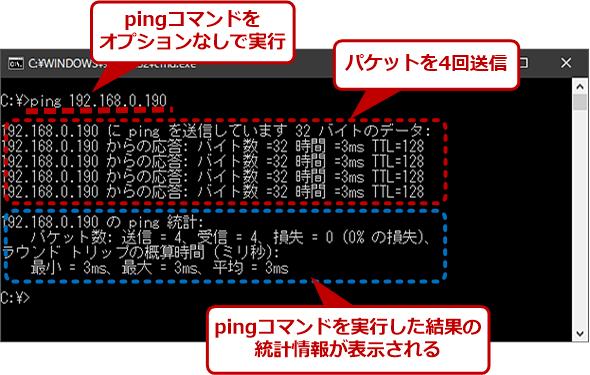 Windowsのpingはデフォルトで4回しかパケットを送信しない