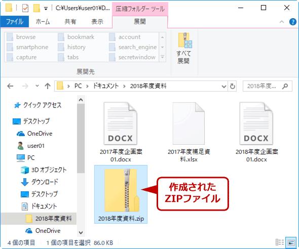 作成された暗号化ZIPファイル