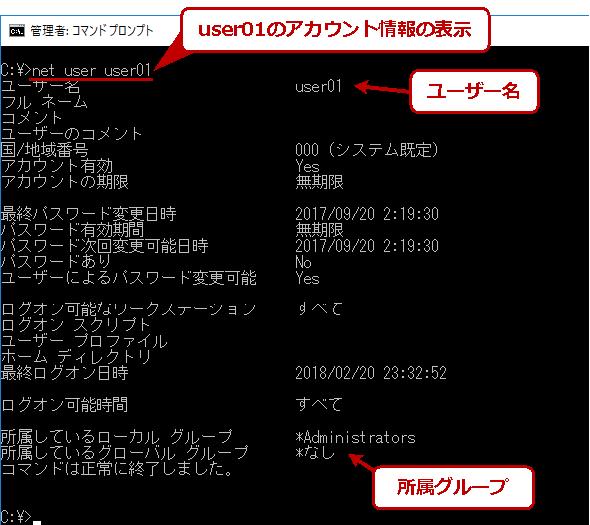 ユーザーアカウントの詳細の確認