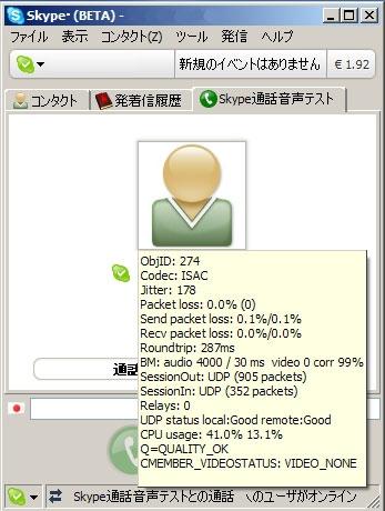 図4-1 Skypeの接続時にどのコーデックを使用しているか確認できる