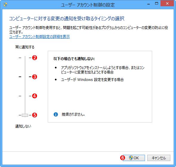 Windows 8.x/Server 2012/R2でコントロールパネルからUAC機能(の一部)を無効化する(その2)