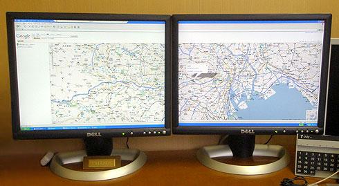 リモートデスクトップを2画面全画面表示したところ