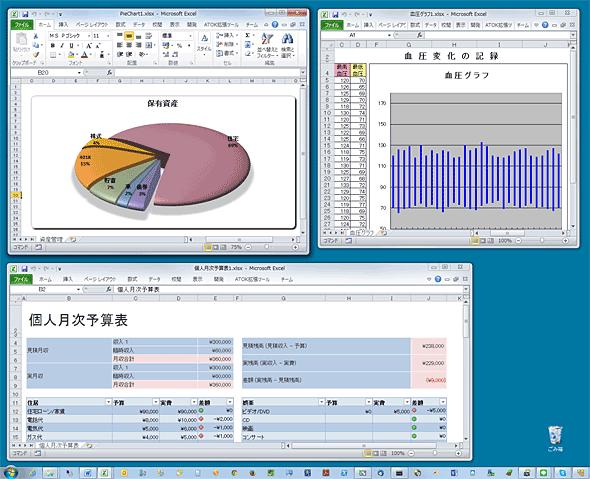 別々のウィンドウに表示された各Excelファイル