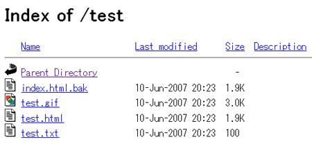 図2 インデックス・ファイルIndex.htmlがないディレクトリの画面表示