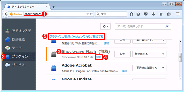 Mozilla Firefoxのプラグイン管理画面でFlash Playerのバージョンを確認する(その1)