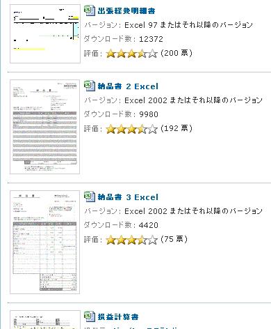 図1 マイクロソフトのExcelやWordで使う帳票用のテンプレートのカテゴリ「経費明細書」の一覧ページ