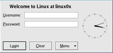 図2 CentOS4.4のディスプレイマネージャkdmによるログイン画面
