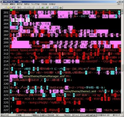 画面10 いったんワードにしたものをHTMLで表示すると、このように意味をなさなくなってしまう