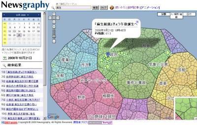 優秀賞・テクノロジー賞を受賞したNewsgraphyの画面