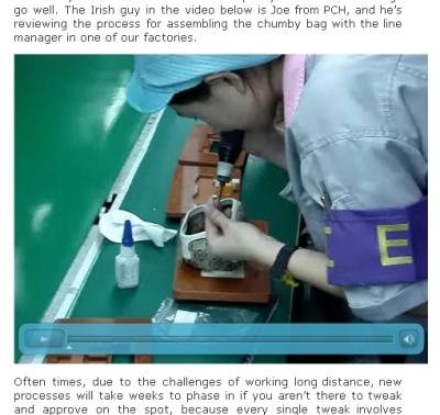 ファン氏のブログでは、工場でChumbyが製造される過程の写真や動画が公開されている。(Made in China: Quality (or The Challenge)